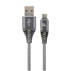Кабель USB (AM/CM) 1.0м Cablexpert (CC-USB2B-AMCM-1M-WB2) премиум USB 2.0, 2.1A