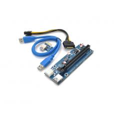 Райзер PCI-E x1 to 16x Voltronic VER 009S/270, SATA=>6Pin, USB 3.0 AM-AM 60см Blue (11892)
