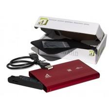 """Зовнішня кишеня для HDD SATA 2.5"""" 1StCharger USB 2.0, Red алюміній (HDE1STU2520BR)"""