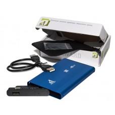 """Зовнішня кишеня для HDD SATA 2.5"""" 1StCharger USB 2.0, Blue алюминий (HDE1STU2520BB)"""