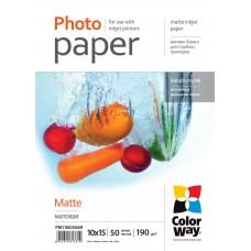 Фотобумага ColorWay матовая 190г/м2 10x15см 50л (PM1900504R)