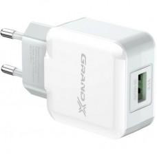 Зарядний пристрій 220V - USB Grand-X CH-03W 1xUSB 5V 2.1A White (CH-03W)