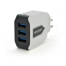 Зарядний пристрій 220V - USB Voltronic CQBT-3USB800 110-240V, 3xUSB, 5V/2A, White 04130