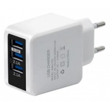 Зарядний пристрій 220V - USB Voltronic KEKE 110-240V, 3xUSB, 5V/3,1A, White (ZD-KK/3U) 19840