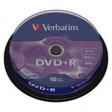 Диск DVD+R Verbatim 4.7Gb 16X CakeBox 10шт Silver (43498)