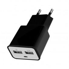 Зарядное устройство 220V - USB Florence (2xUSB 2A) Black (FW-2U020B)