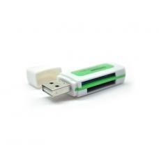 Кардридер внешний USB2.0 MERLION CRD-5GR 4в1 TF/Micro SD Green 06419