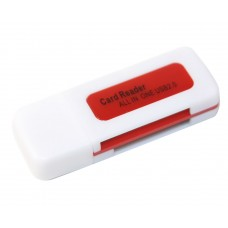 Кардрідер зовнішній USB2.0 MERLION CRD-5RD 4в1 TF/Micro SD Red 06420