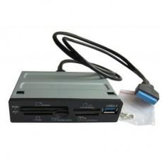 """Кардридер 3.5"""" STLab U-405P - All in 1, 6 слотов, USB3.0-порт, пластик черный"""