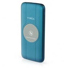 Батарея універсальна Vinga 10000 mAh Wireless QC3.0 PD soft touch blue (BTPB3510WLROBL)