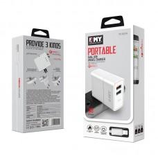 Зарядний пристрій 220V - USB MY-A501Q + Lightning Cable, Quick Charge, 2xUSB, 30W, Output DC 3.6-6V/3A 6-9V/2A 9-12V/1.5A, White
