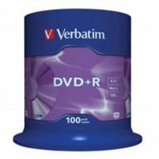 Диск DVD+R Verbatim 4.7 GB, 16x CakeBox 100шт (43551)