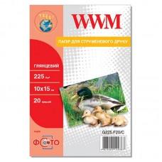 Фотобумага WWM глянцевая 225г/м кв, 10см x 15см, 20л (G225.F20/C)
