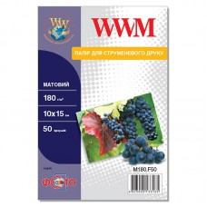 Фотобумага WWM матовая 180г/м кв, 10см x 15см,  50л (M180.F50)