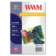 Фотобумага WWM матовая 180г/м кв, 10см x 15см, 100л (M180.F100)