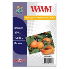 Фотобумага WWM матовая 230г/м кв, 10см x 15см, 20л (M230.F20)