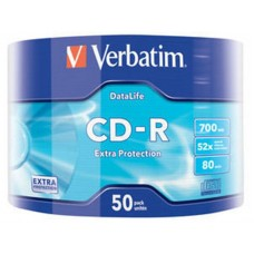 Диск CD-R Verbatim 700 Mb, 52x Wrap-box Extra 50шт (43787)