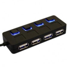 Концентратор USB2.0  Lapara LA-SLED4 black  4 порта USB 2.0 с 4-мя выключателеми ON/OFF